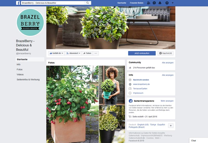Screenshot der Facebook Fanpage der BrazelBerry® Collection